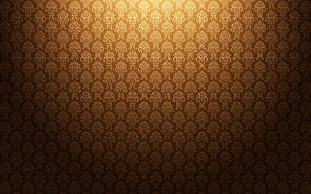 brown damask wallpaper background - baroque stock photos and pictures