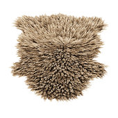 Brown decor skin of a sheepskin wool rug on white background. 3D rendering