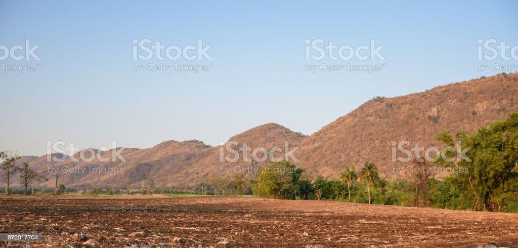 Brown dry mountain stock photo