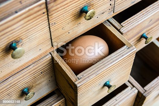 istock A brown egg in a half open small drawer of a wooden spice cabinet 899663148