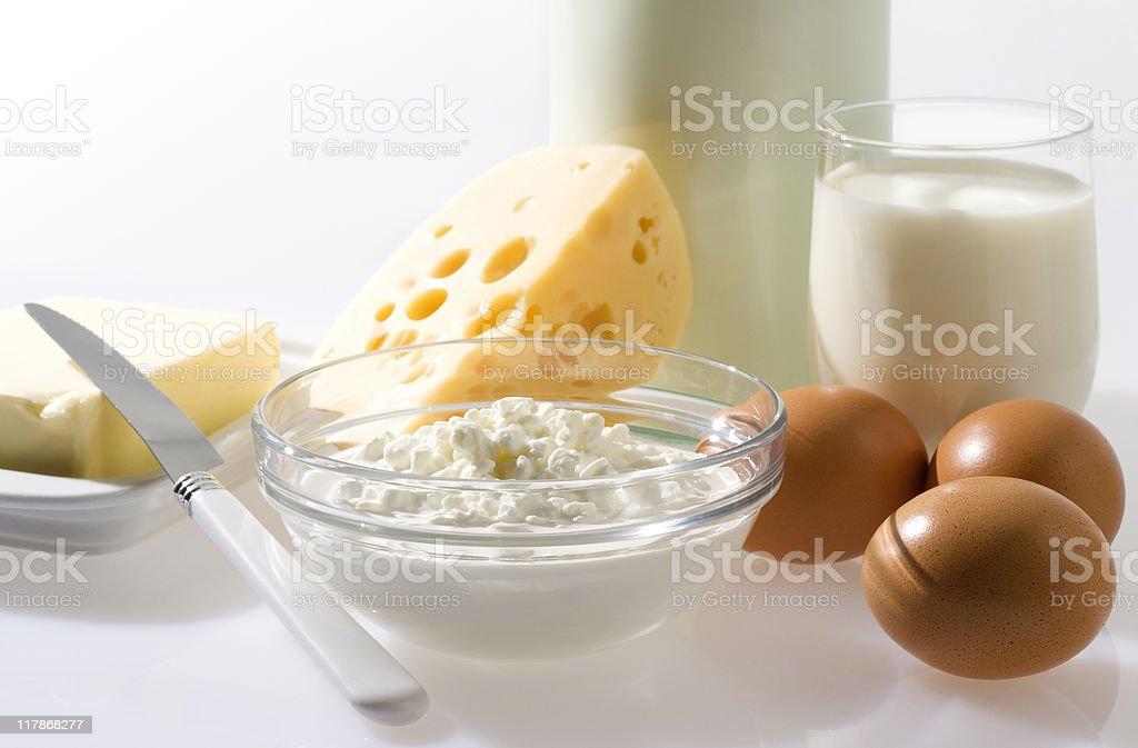 Braune Eier und Milchprodukten. - Lizenzfrei Butter Stock-Foto