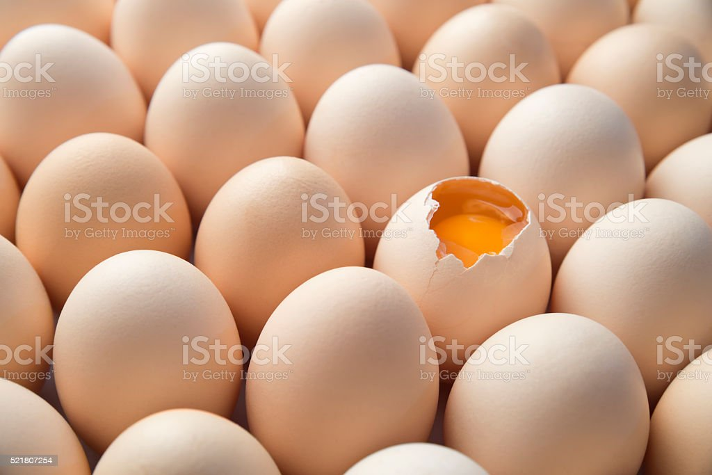 Brown Eggs and Yolk stock photo