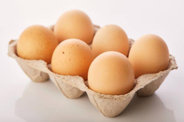 bruine eieren in ei vak - chicken bird in box stockfoto's en -beelden