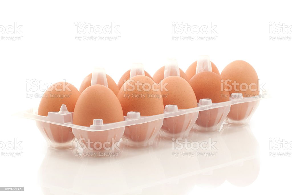 Brown eggs in the box royalty-free stock photo