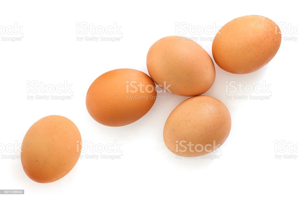 Brown Eggs Isolated on White Overhead View stock photo