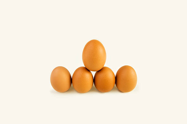 Brown eggs standing stock photo