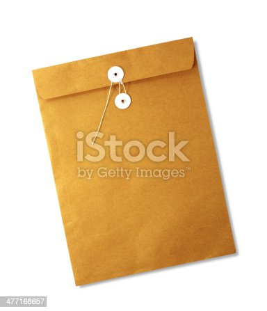 istock Brown envelope isolated on white background 477168657