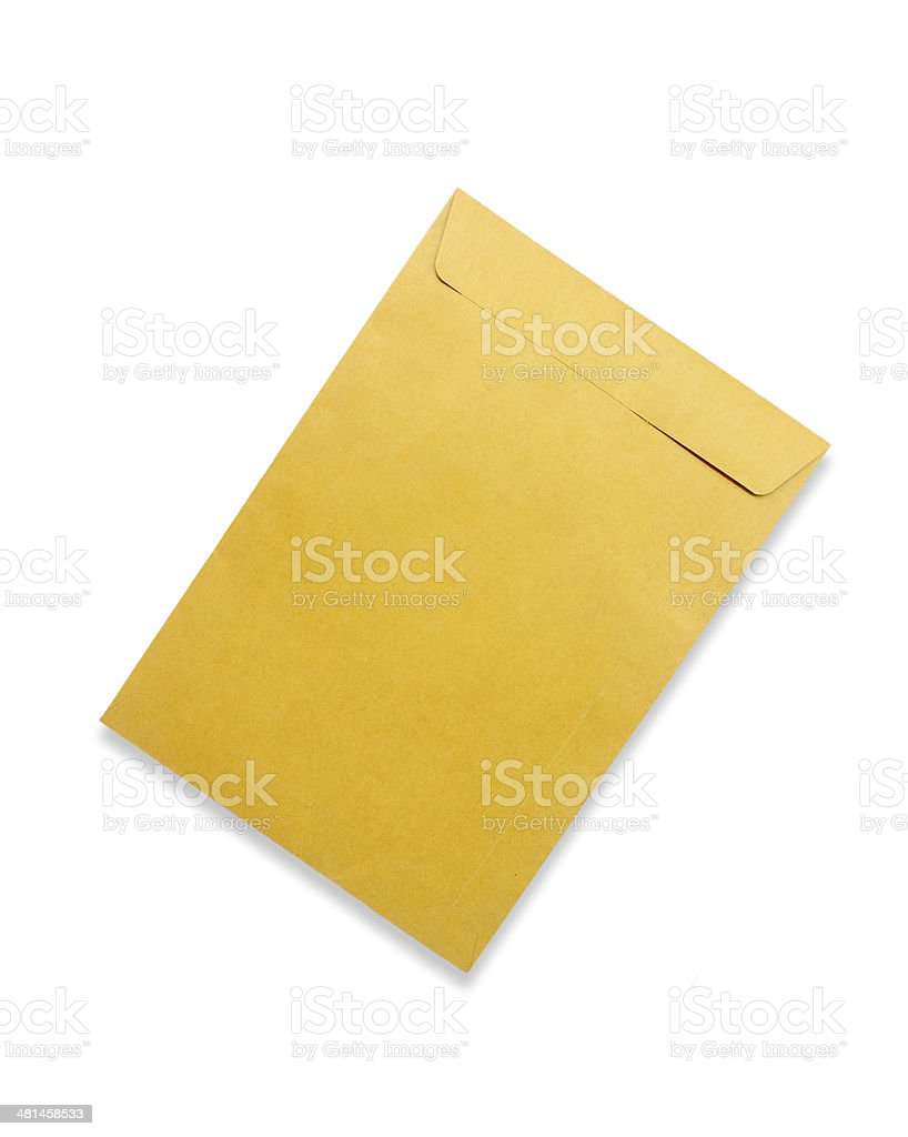 Brown envelope isolated on white background royalty-free stock photo