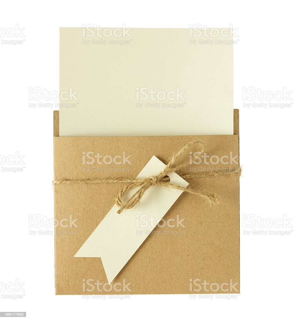 Brown envelope of recycle paper with a blank card stock photo