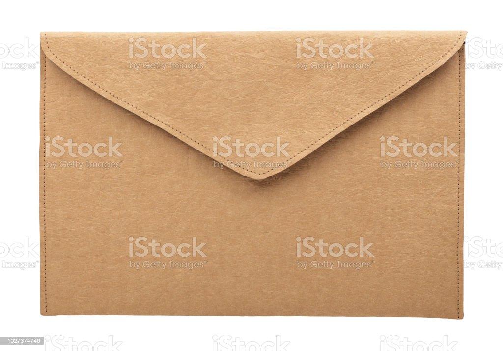 白の背景に茶色の封筒。 ストックフォト