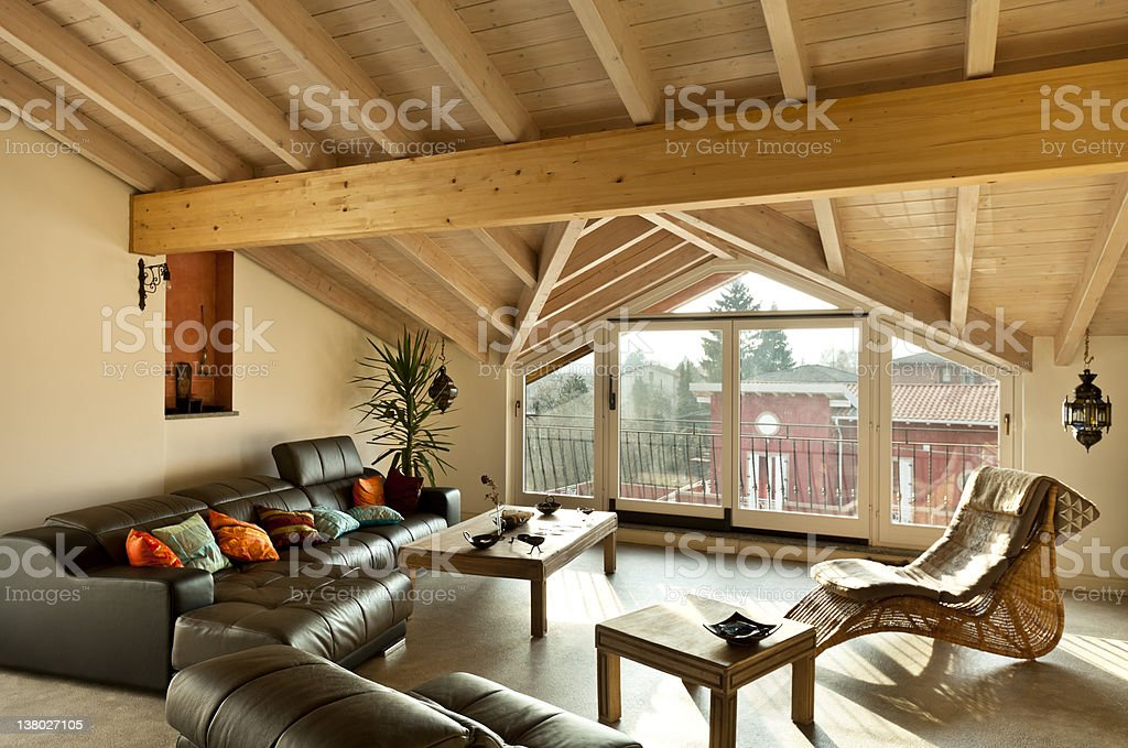Brown ethnic furniture in a wood style lounge royalty-free stock photo