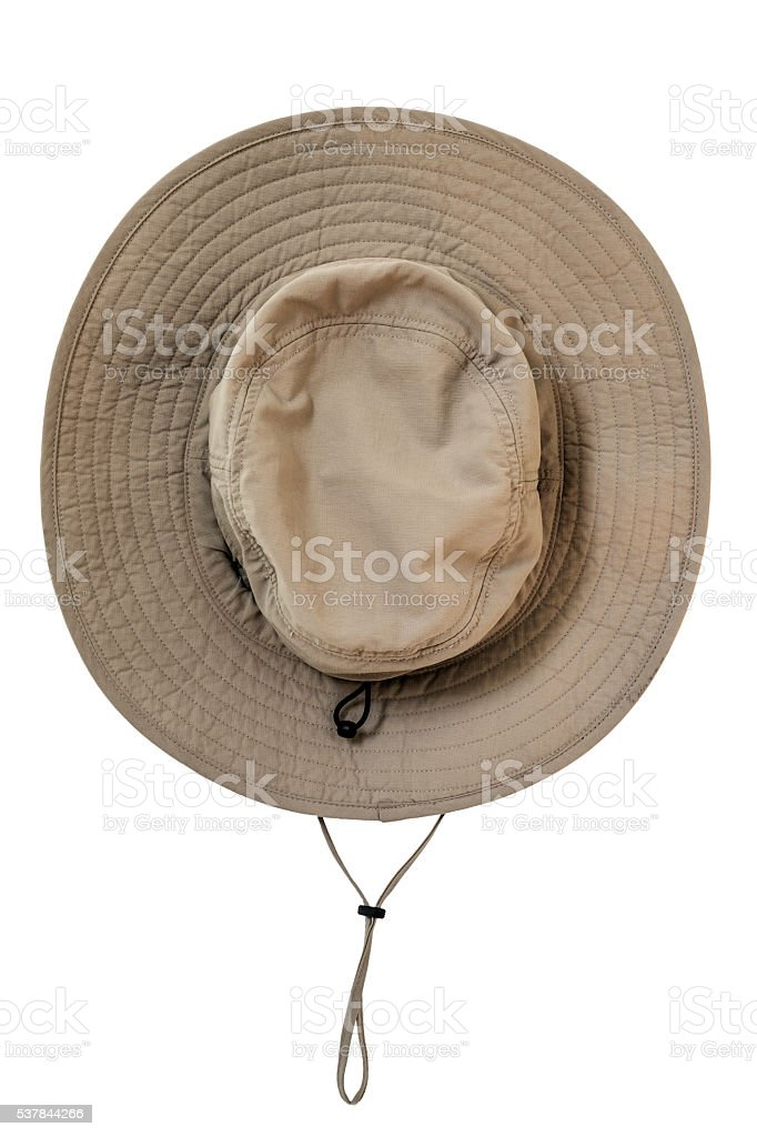 Brown explorer fabric waterproof hat, isolated on white background stock photo