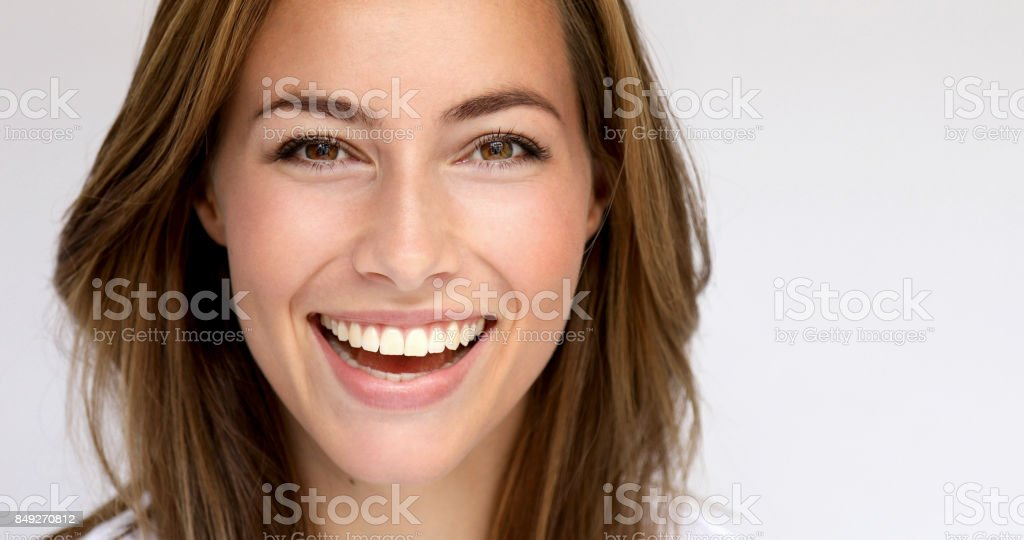 Brown eyed girl stock photo