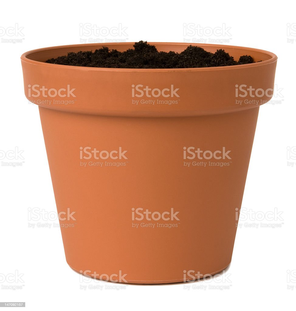 Brown flower pot with soil in it stock photo