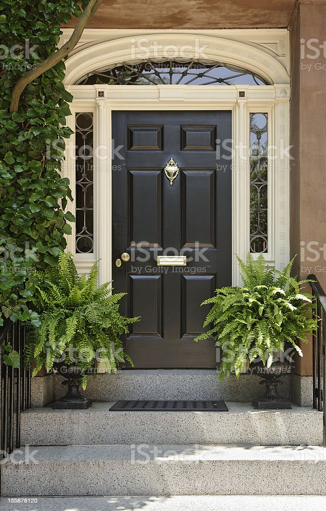 Brown Front Door With Potted Plants On Either Side Stock
