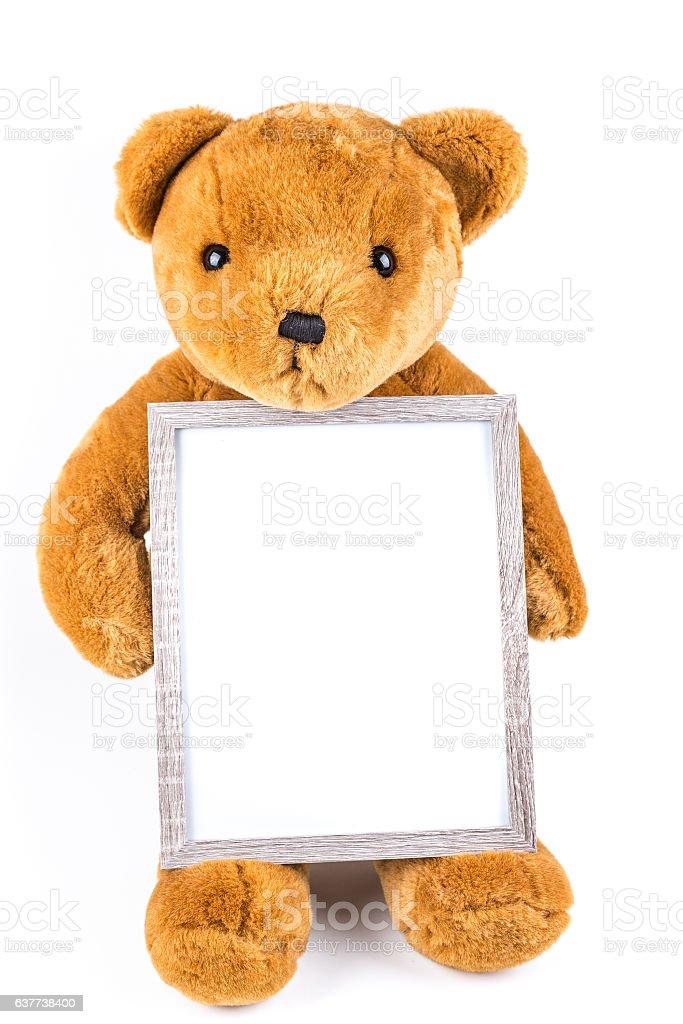 Brown Fuzzy Teddy Bear Holding A Grey Frame Stock Photo & More ...