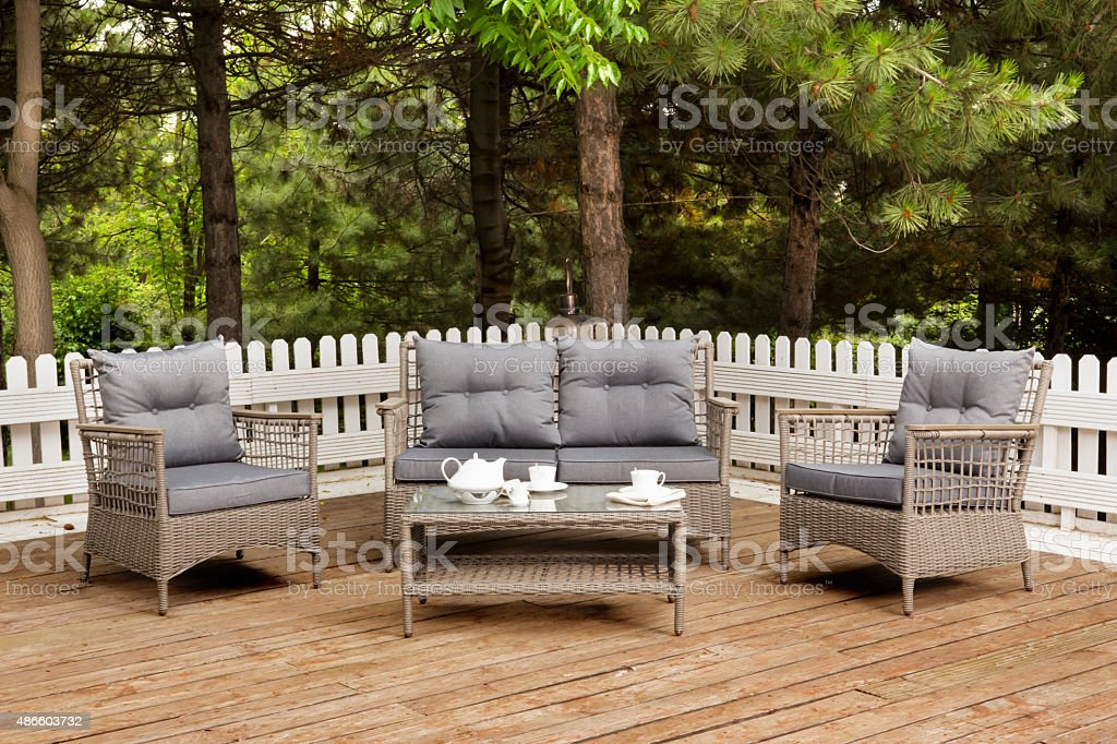 Brown Garden Furniture at Veranda stock photo