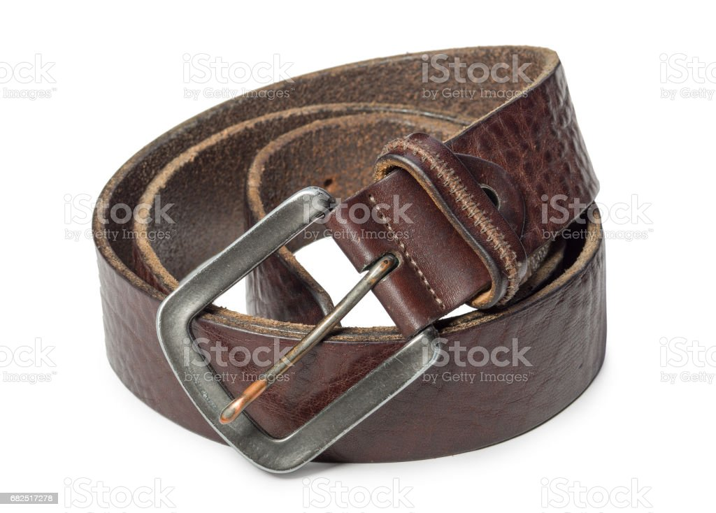 Brown genuine leather men's belt isolated on white background royalty-free stock photo