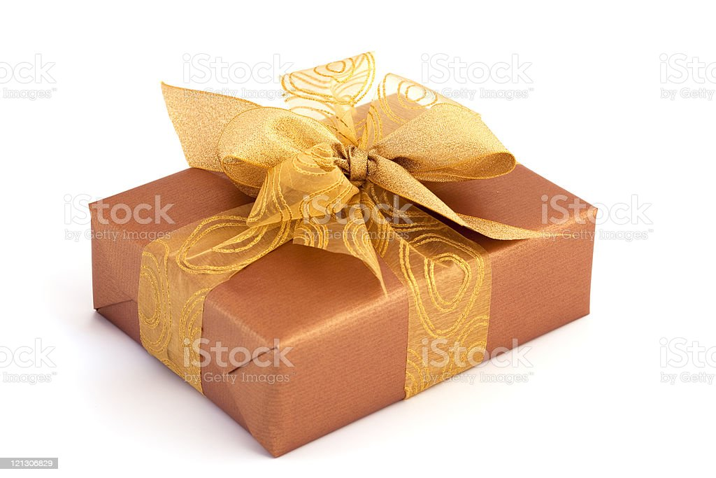 brown gift box royalty-free stock photo
