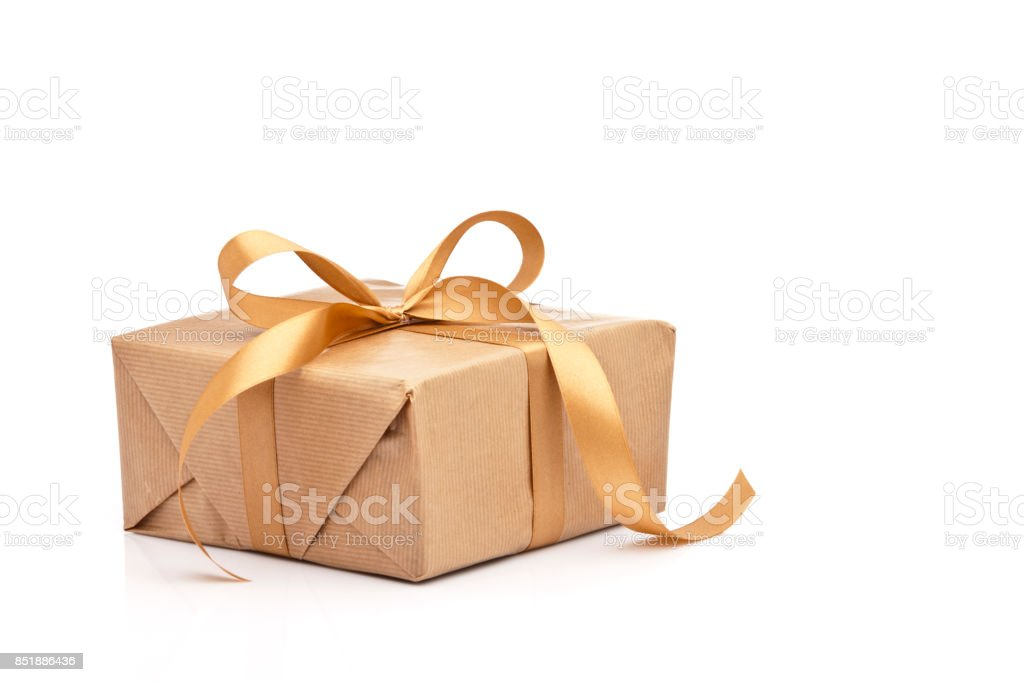 Brown gift box with golden ribbon isolated on white background stock photo