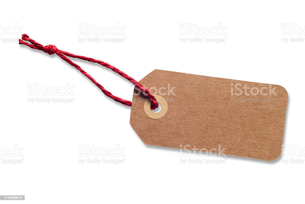 Brown Gift Tag with Red Raffia Ribbon stock photo