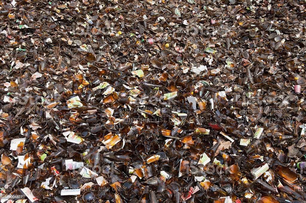 Brown glass bottles ready for recycling, royalty-free stock photo