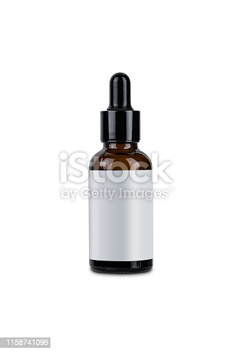 Brown glass Eye drops bottle and empty label use for product design template isolated on white with clipping path