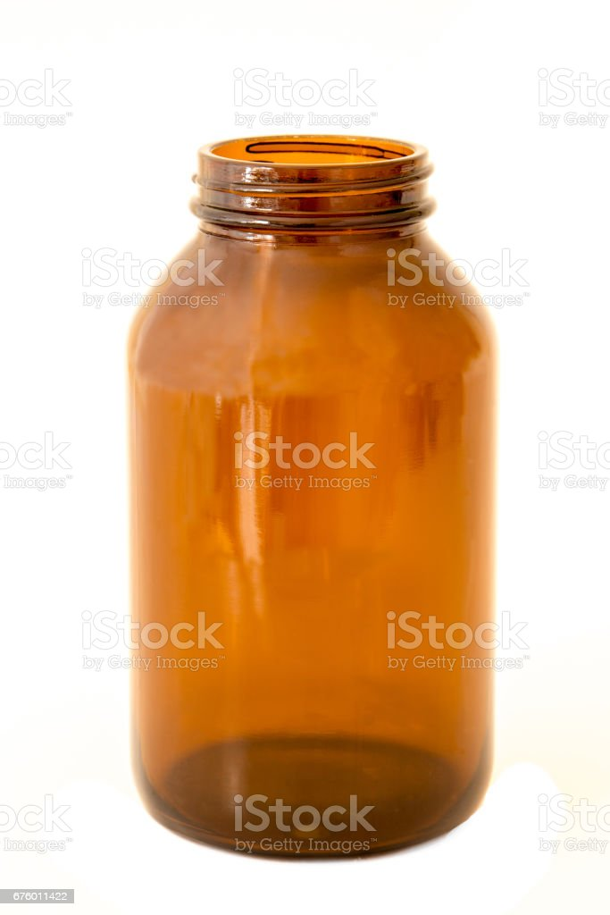 Brown glass medical bottle isolated stock photo