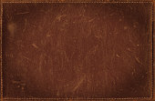 istock Brown grunge background from distress leather texture with stitched frame 491615480