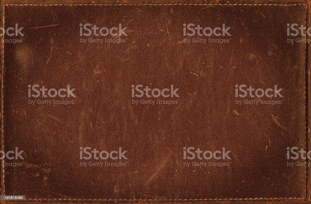 Fundo grunge marrom textura de couro costurado estresse com moldura - foto de acervo