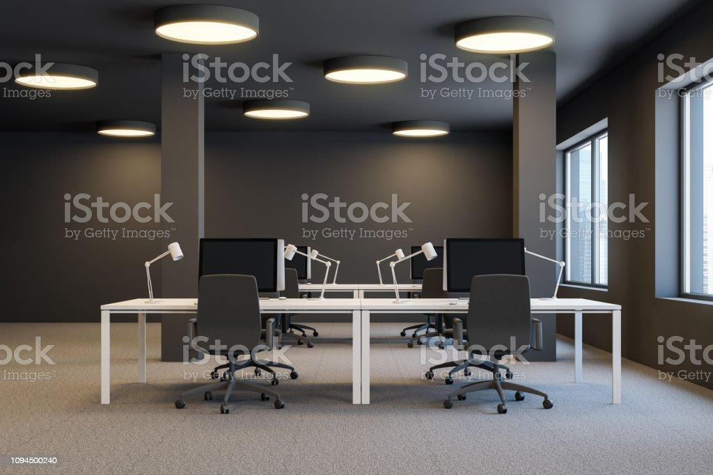 Interior of industrial style office with brown walls, carpet on the...