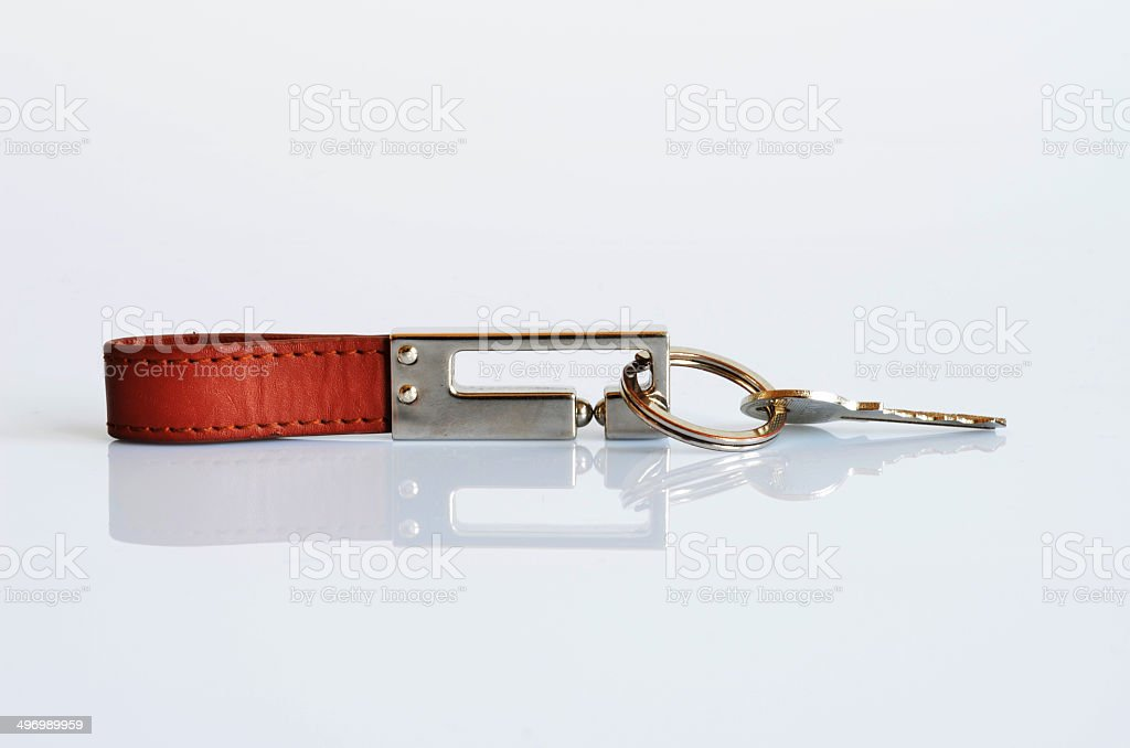 Brown Key Ring and silver key stock photo