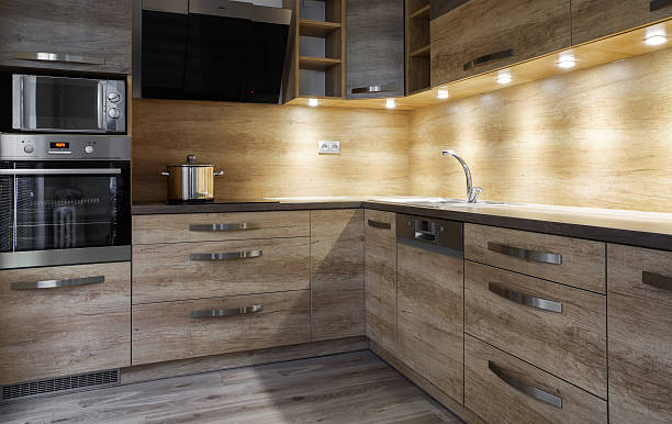 Brown kitchen unit stock photo