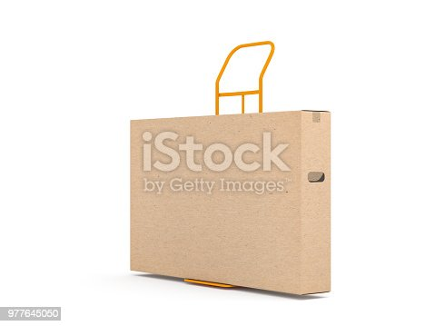 istock Brown kraft cardboard box packaging for large smart TV set on Hand Truck 977645050