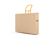 Brown kraft cardboard box packaging for large smart TV set on Hand Truck