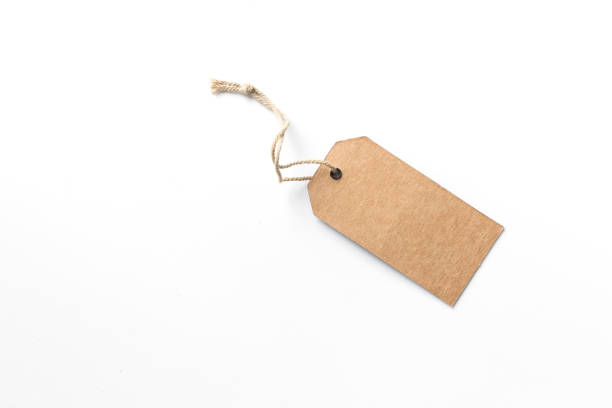 tag de rótulo marrom isolado no fundo branco. - tag - fotografias e filmes do acervo