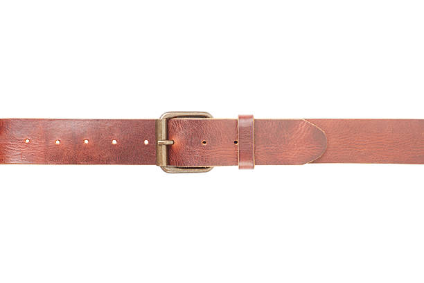 brown leather belt fastened with buckle - belt stock photos and pictures
