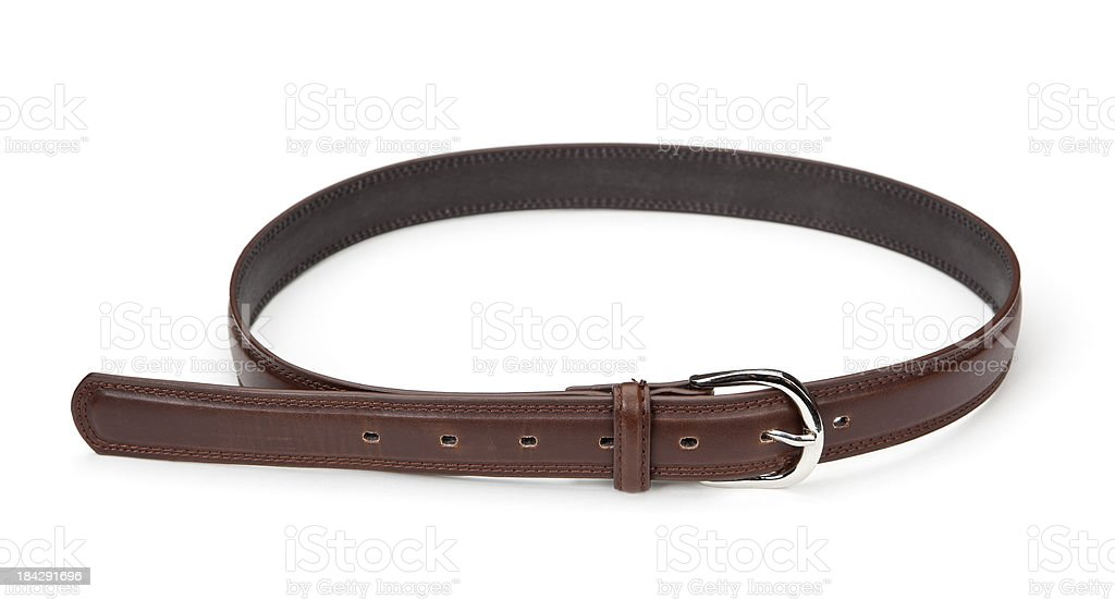 Brown Leather Belt Isolated royalty-free stock photo