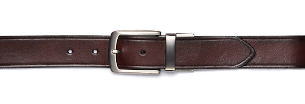 brown leather belt isolated - belt stock photos and pictures