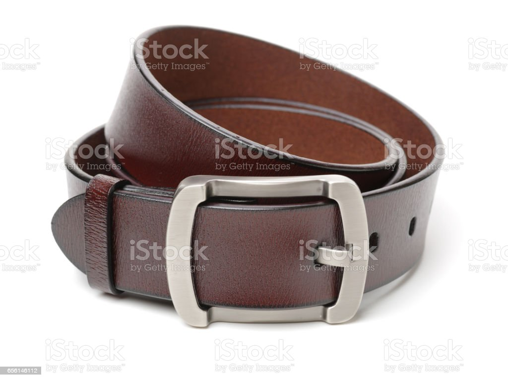 Brown leather belt  on white background closeup stock photo