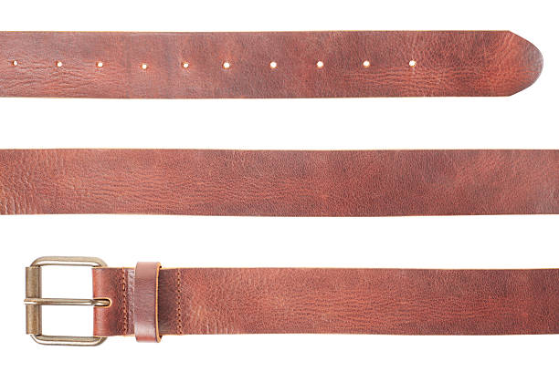 brown leather belt set - belt stock photos and pictures
