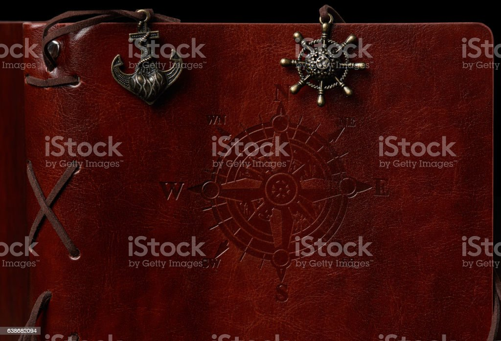 Brown leather book cover stock photo