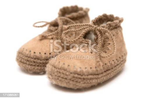kid's leather shoes on wooden background