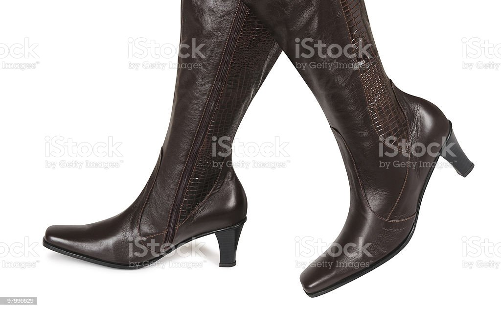 Brown leather boots royalty free stockfoto