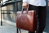 istock Brown leather briefcase 1221374459