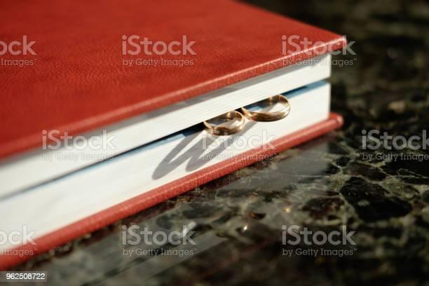 Foto de Álbum De Casamento Coberto De Couro Marrom Com Par De Alianças De Casamento Ouro Cara Da Extremidade e mais fotos de stock de Bielorrússia