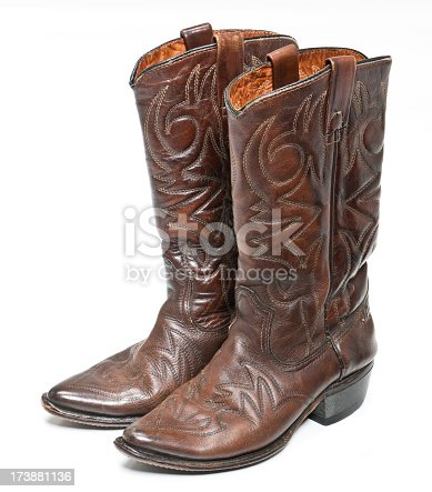 Worn brown leather cowboy boots.
