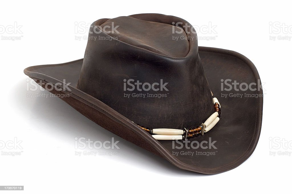 Brown leather cowboy hat royalty-free stock photo
