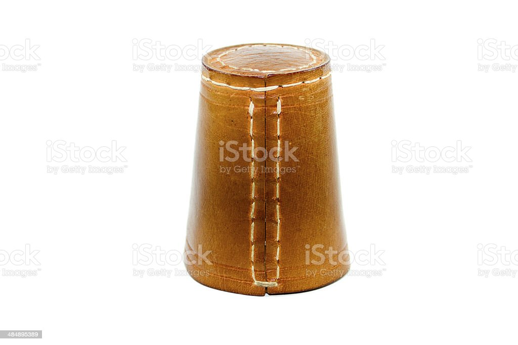 Brown Leather Dice Cup for Playing on white background stock photo