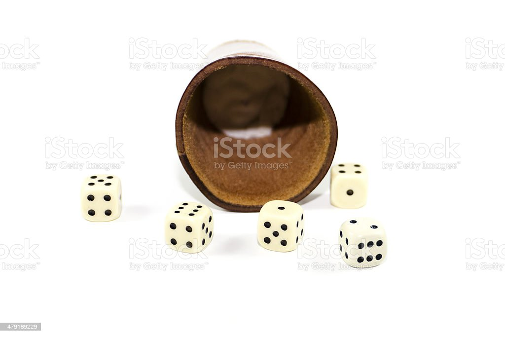 Brown Leather Dice Cup with Playing Cubes stock photo